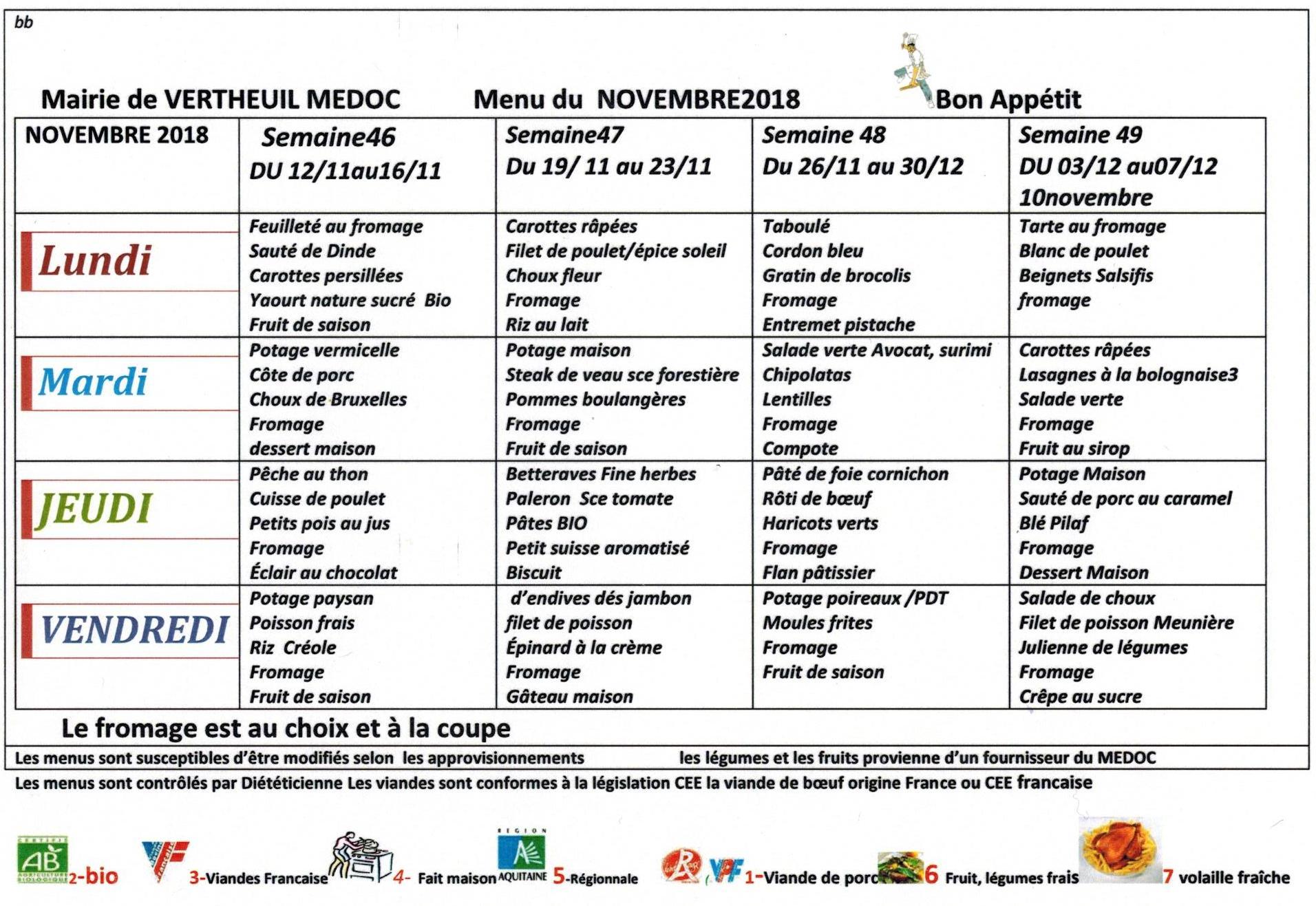 menus restaurant scolaire