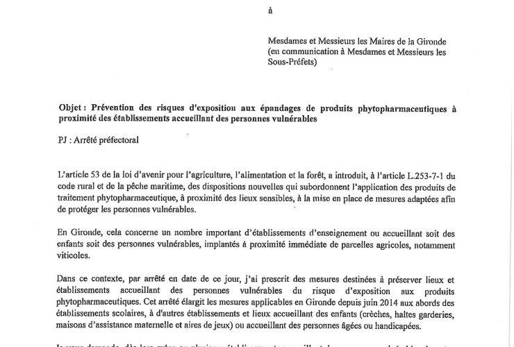 Prévention des risques d'exposition aux épandages de produits phytopharmaceutiques