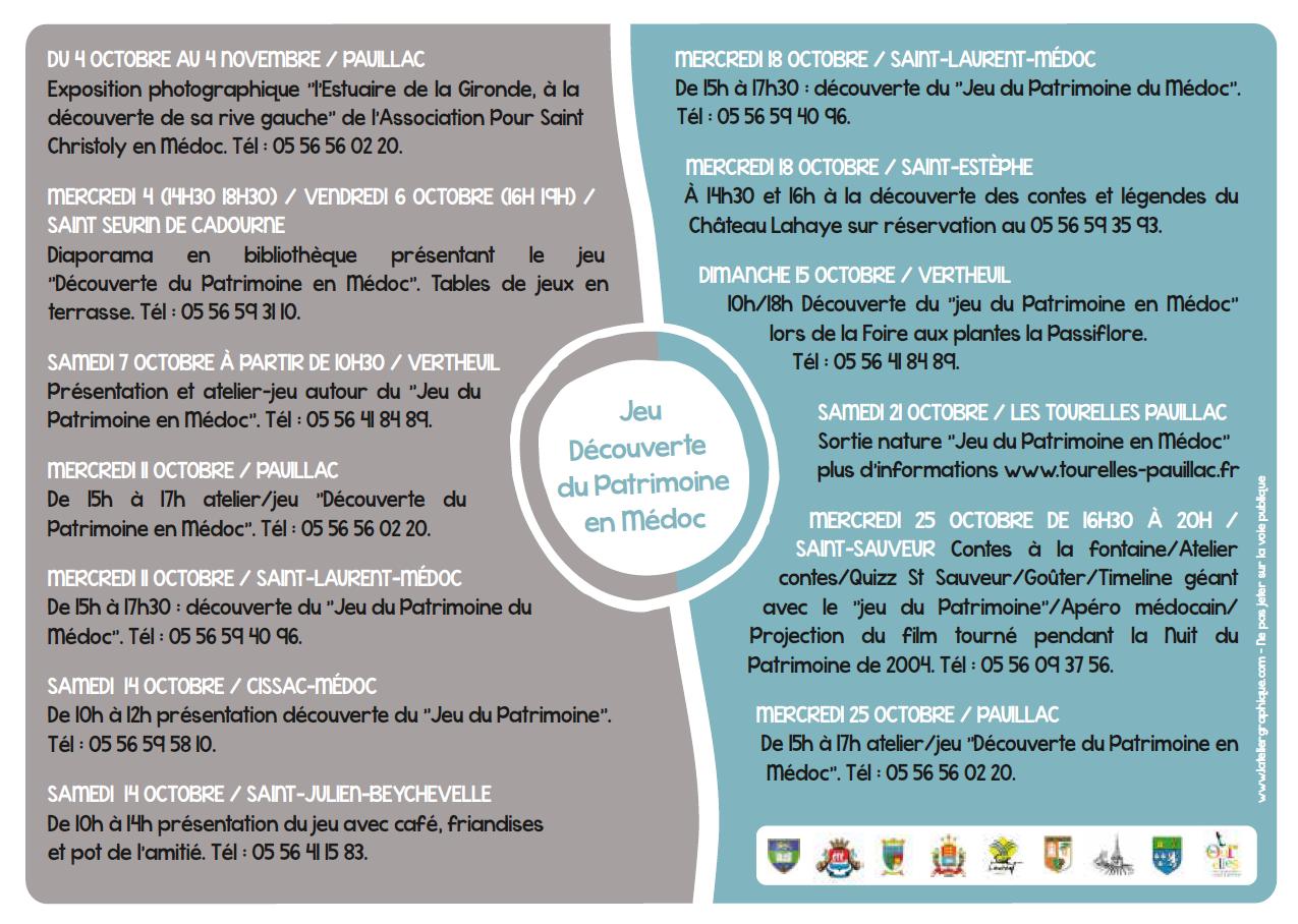 programme JEU PATRIMOINE Octobre