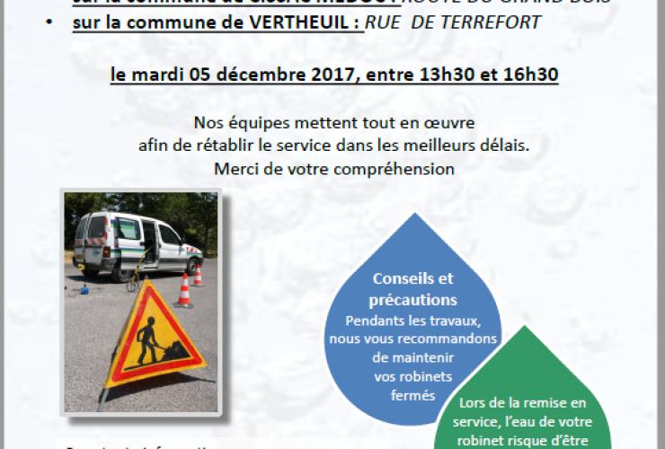 Avis de coupure d'eau à Vertheuil mardi 5 décembre