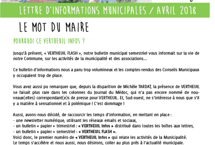 Lettre d'informations municipales Avril 2018