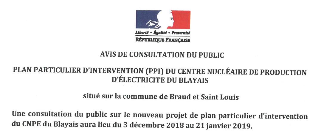Avis de consultation du public plan particulier d'intervention du Blayais