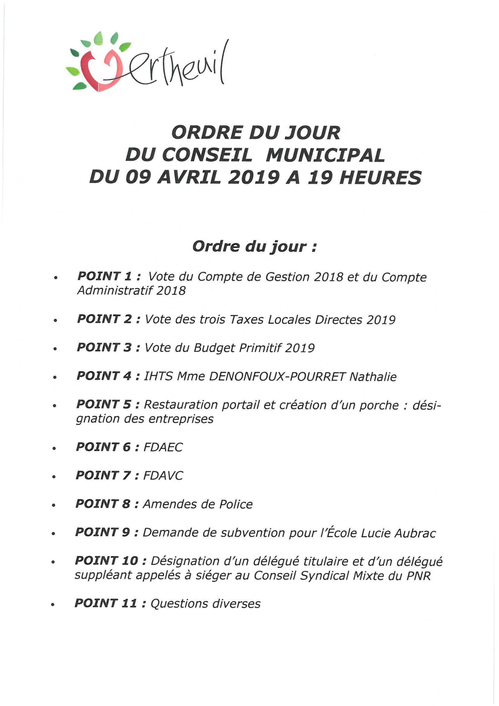 ORDRE DU JOUR DU CONSEIL  MUNICIPAL  DU 9 AVRIL 2019 A 19 HEURES