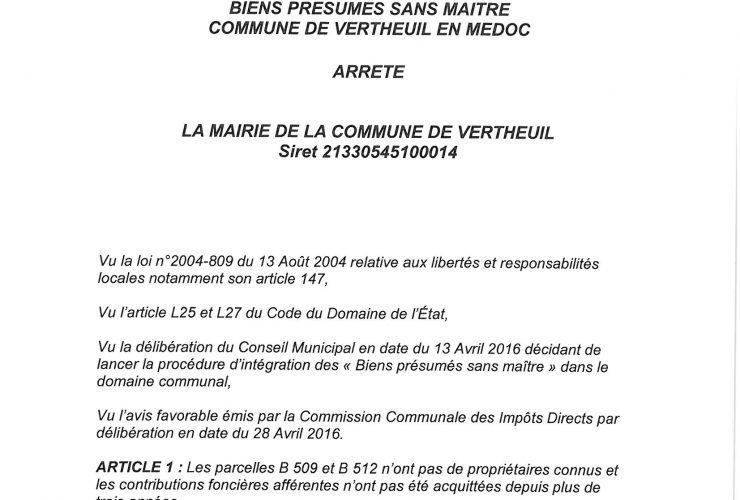 Arrêté municipal datant du 29 avril 2016 relatif aux Biens sans maîtres