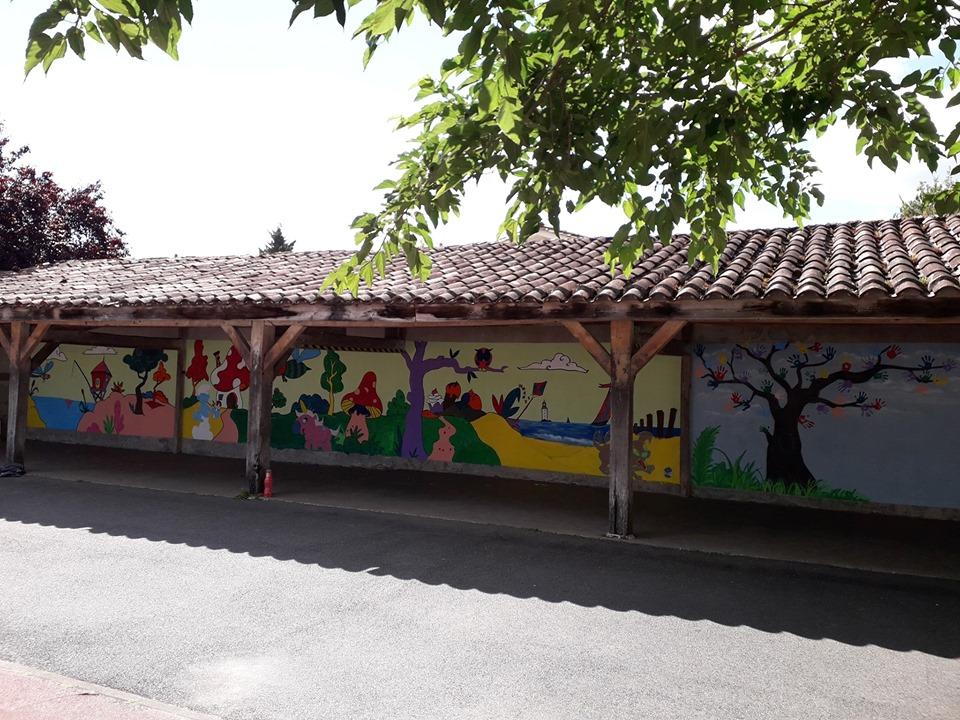 Création d'une fresque à l'école Lucie Aubrac